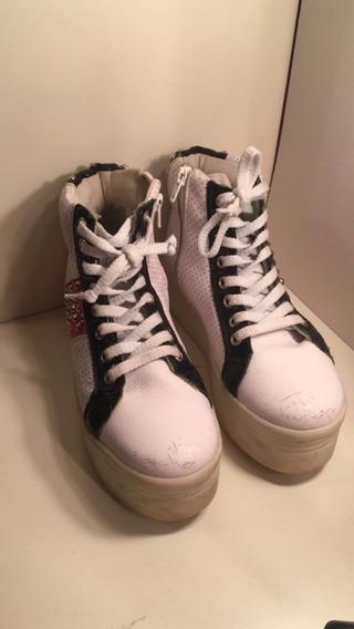 Zapatillas Plataforma Blanca Con Rosa