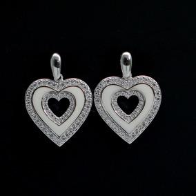 Brinco Feminino Coração Prata 925 + Ródio + Cristal Zircônia
