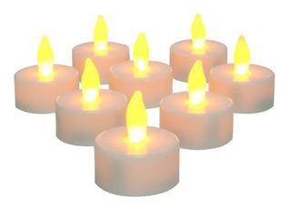 24 Velas Pequeñas Con Luz Amarrilla Led