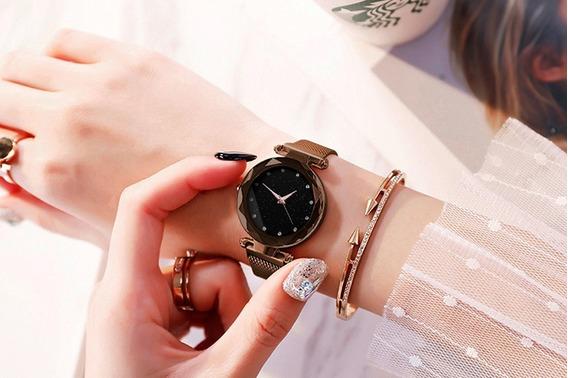 Relógio Feminino Luxo Diamante Céu Estrelado - Magnético