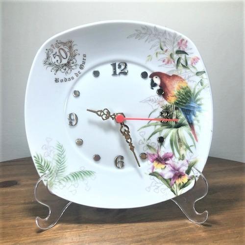 Imagem 1 de 4 de Relógio Arara Bodas De Ouro 50 Anos De Casamento