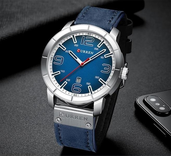 Relógio Curren Analógico Azul - Novo