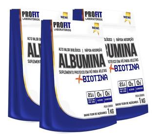 3x Albumina + Biotina - 1 Kg - Profit Labs