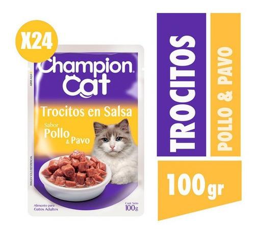 Champion Cat Trocitos En Salsa Sabor Pollo Y Pavo  24x100g