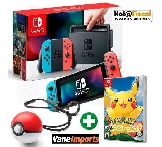 Nintendo Switch 32gb Nova Versao C/pokebal E Picachu C/nota