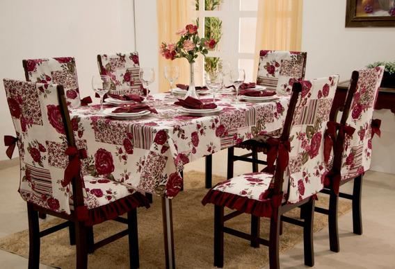 Toalha De Mesa Retangular + 6 Capas Cadeira Vitória Vermelho