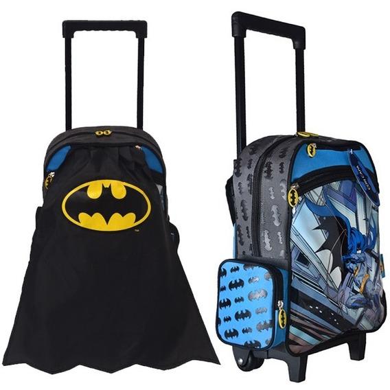 Mochila De Batman 13 Con Carrito Y Capa 33 Cm Original