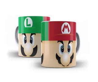 Caneca Super Mário Bros E Luigi Jogo Nintendo