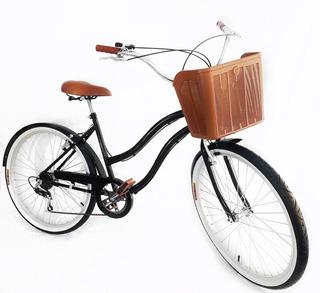 Bicicleta Aro 26 Retrô Feminina 6v Freios De Alumínio