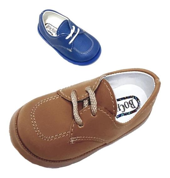 09 * Zapatos Marron Azul Bebes Nenes Niños Bautismo Varon