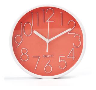 Reloj De Pared Números Grandes Fondo Color Deco Hogar