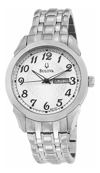Incrível Relógio Bulova 96c103 Day Date Aço Top Exclusvio