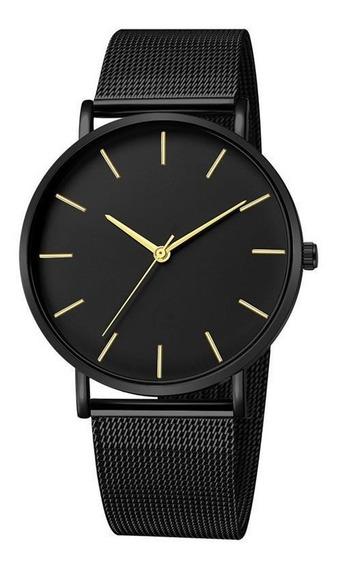 Reloj Elegante Malla Acero Inoxidable Cuarzo Hombre Mujer