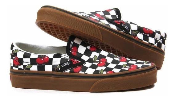 Tenis Vans Slip On Cherry Checkerboard Black/gum
