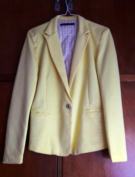 Blazer Zara Mujer Forrado Amarillo