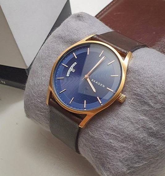Relógio Skagen Masculino Dourado E Azul Skw6395