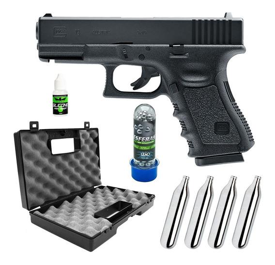 Pistola Airgun 6mm Co2 Glock G19 Metal+ Maleta+ Co2+ Esferas