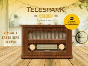 Rádio Retrô Vintage Telespark Golden Bluetooth Fm
