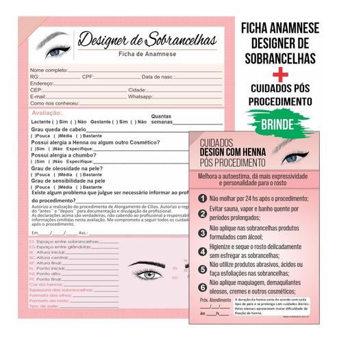 Imagem 1 de 4 de Design Sobrancelha Ficha Anamnese + Cuidados Henna 100 Folha