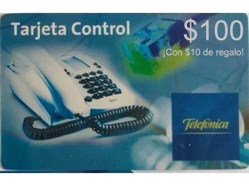 Tarjeta Telefónica Control Pin $100 + $10 De Regalo. Stock