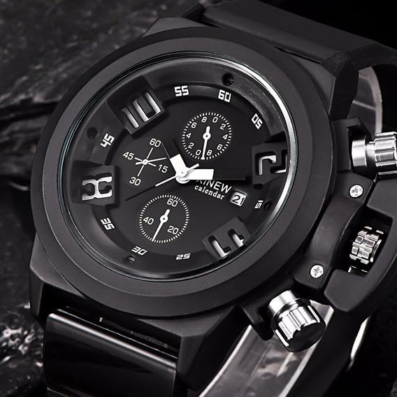 Relógio De Pulso Masculino - Pulseira Silicone Black Com Cx