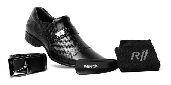 Sapato Social Rafarillo Couro Conforto Kit 4 Em 1 Ref 34002