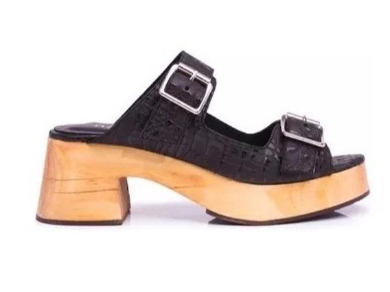 Zapato Mujer Zueco Natacha Cuero Reptil Negro #3332
