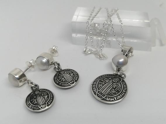 Coordiado San Benito Medallas Perla Cultivada Plata Fina 925
