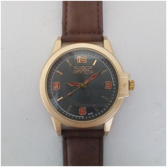 Relógio Masculino Barato Dourado Pulseira De Couro + Caixinha 12x Sem Juros