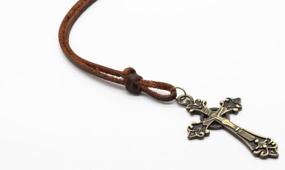 Colar Cordão Masculino Couro Crucifixo Cruz Pingente Vintage