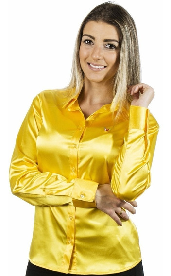 Camisa Feminina Nanette - Cetim C/ Elastano - Pimenta Rosada