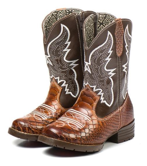Bota Country Infantil Kids Texana Unisex Em Couro Cowboy