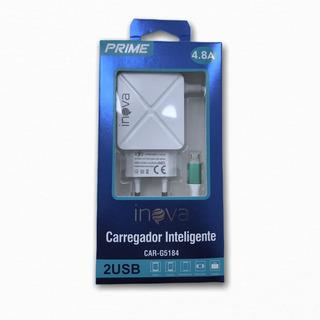 10 Carregadores De Celular Turbo 4.8a 2 Usb Micro Usb Inova