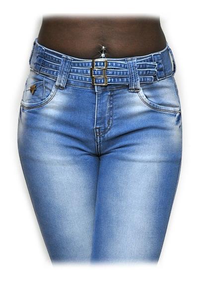 Calça Jeans Azul Com 3 Cintinhos Fivelas Cintura Alta 738 Bolsos Na Frete E Atrás Levanta Modela Bumbum Cintura Laycra