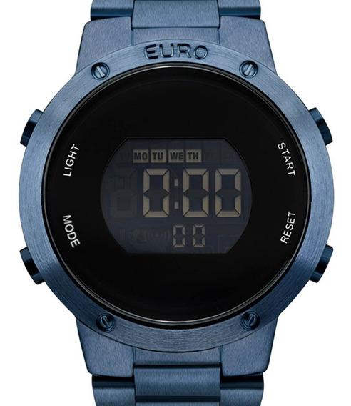 Relógio Euro Digital Azul Feminino Eubj3279ac/4a + Nota