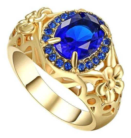 Anel Banhado Ouro Feminino Flor Safira Azul Dia Mulher 531 I