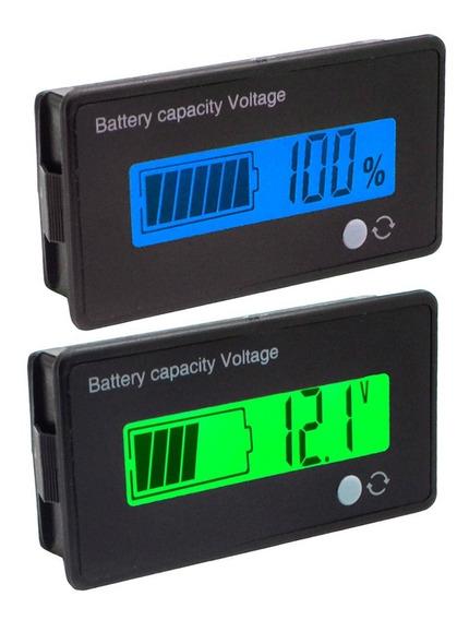 Voltímetro 12v 24v 36v 48v Medidor Bateria Porcentagem Carga