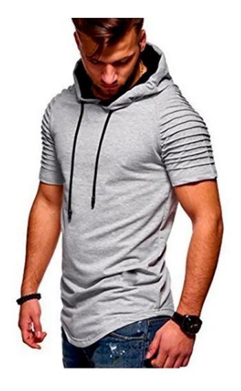 Remera Hombre Entallada Slim Fit Al Cuerpo Capucha Moda A12