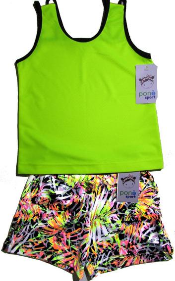 Short Playera Blusa Niñas Color Verde Limon Talla 5-6 Kid