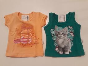 2 Camisetas Infantil Para Bebês De 3 A 6 Meses Feminino
