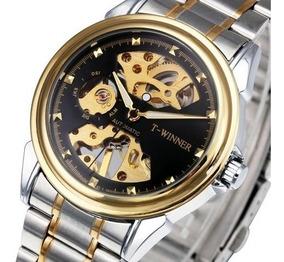 Relógio Automático Luxo Elegante Esqueleto Winner Aço Inox