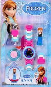 Relógio Digital Infantil Frozen + Boneco Acessório Lego Anna