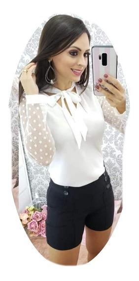 Camisa Feminina Social Manga Longa Laço Blusa Renda Tule Moda Evangélica