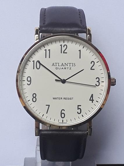 Relógio Masculino Social Atlantis Pulseira De Couro G3493e