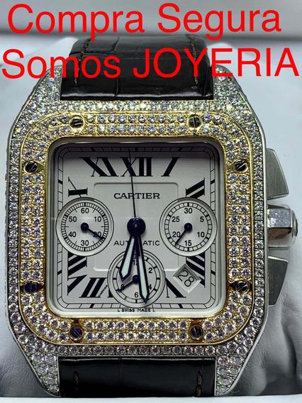 Cartier Santos Xl Cronografo Todo De Diamantes Oro Y Acero