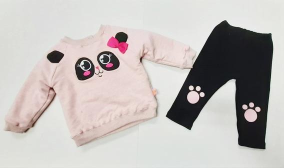 Conjunto De Niña Bebe Chic Oso Panda Tabitas #12 Meses R