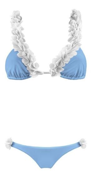Traje De Baño Azul Con Petalos Cintura Baja Bikini Mexico