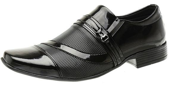12 Pares Sapato Social Masculino Verniz Preto - Atacado