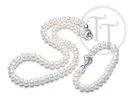 Set Perlas Naturales Plata Esterlina 925 Broche Tiff