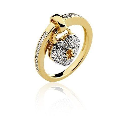 Anel De Ouro 18k Berloque Coração + Brilhantes Naturais